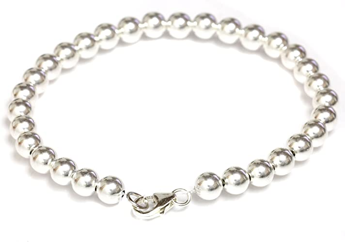 Sterling Silver Round Beads 6,6.5,7,7.5,8 inches Rose Quartz Beaded Bracelet