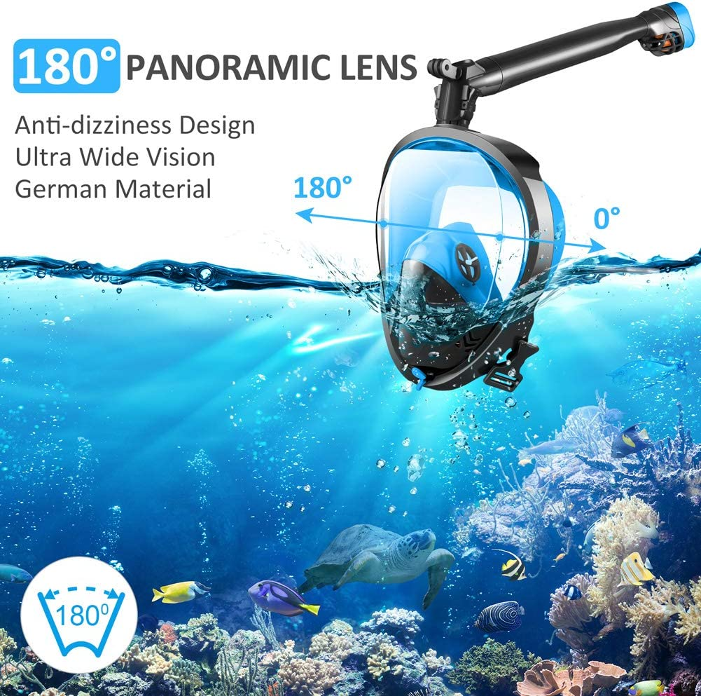 for Adults Diving Swimming Backstroke Joso Snorkeling Mask with Newest Safe Easy Breath System Longer 360/° Rotation Tube Anti-fog 182/° Panoramic Seaview Anti-Leak Dry Top Set Full Face Snorkel Mask