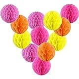 "6"" Honeycomb Tissue Paper Balls Hanging Decorations - 12 CT, 4 Colors"