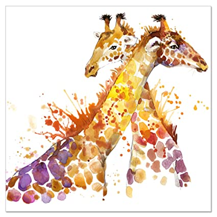 Amazon.com: Animal Canvas Wall Art Abstract Giraffe Watercolor ...
