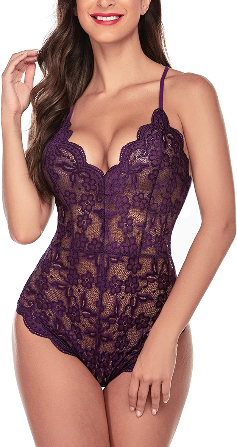 Avidlove Women Teddy Lingerie One Piece Babydoll Mini Bodysuit: Clothing