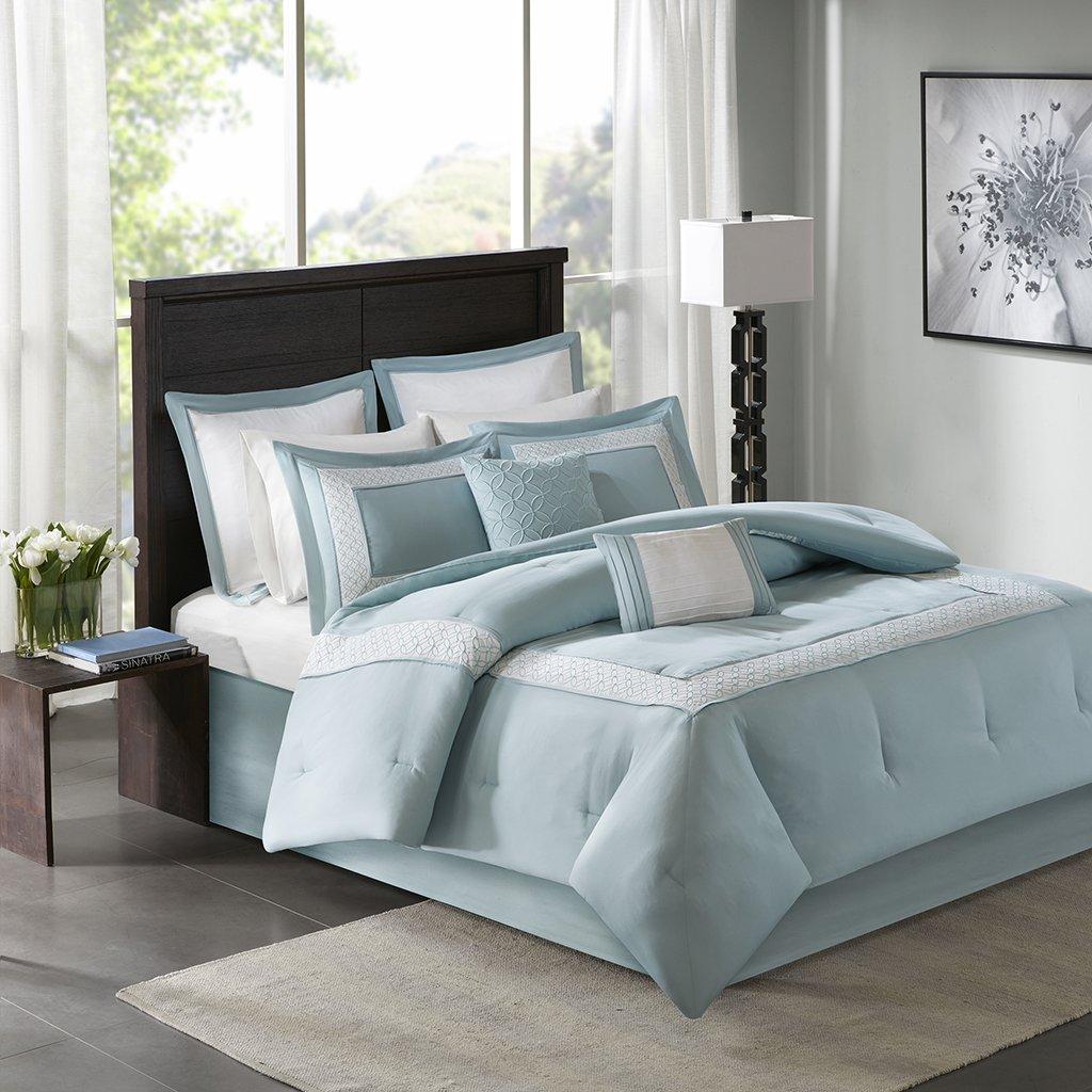 All Season Stratford 8-Piece Embroidered Comforter Set King Aqua includes Comforter-bedskirt-2 shams-2 Euro Shams-2 Decorative Pillows