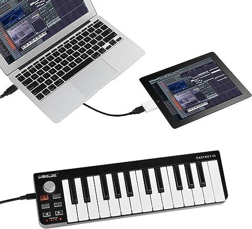 SHUOGOU Mini Portátil 25 Teclas USB-MIDI Controller Organo Electrónico USB MIDI Teclado con Synth-Acción Velocity-Sensitive Keys para Mac y PC