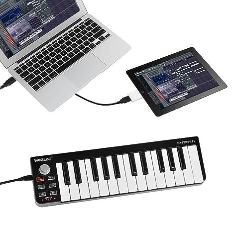 SHUOGOU Mini Portátil 25 Teclas USB-MIDI Controller Organo Electrónico USB MIDI Teclado con Synth