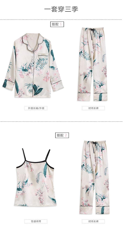 Spring Summer Pyjamas Women Home Wear Pijama Charming Faux Silk Floral 7 Pieces Pajama Set Woman Sleep Wear Set at Amazon Womens Clothing store: