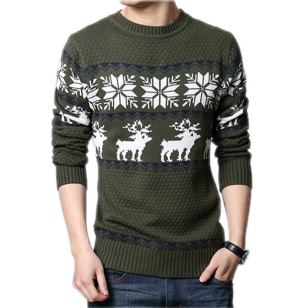 VOGUE CODE Vintage Deer Pattern Round Neck Sweater Casual Knit Wear