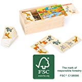 small foot company Domino Safari de Madera FSC 100% certificada, Divertido Juego de Mesa con Motivos de Animales Coloridos. Juguetes Small Foot by Legler 10963