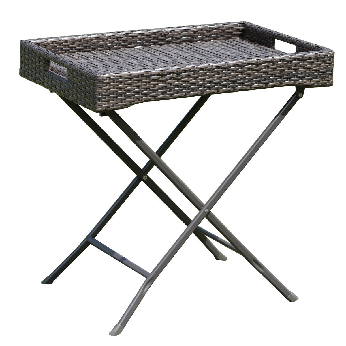 Tangkula Wicker Table Outdoor Patio Wicker Rattan Sofa Side Tray Table Display Stand