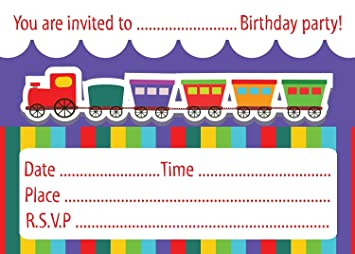 Childrens birthday party invitations colourful train design packs