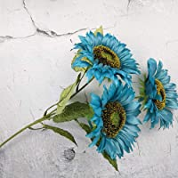 Gigicloud 3 Heads Sunflower Artificial Flowers Bouquet Home Wedding Decor DIY Crafts Blue 63cm