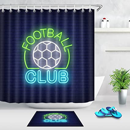 LB Neon Light Football Club Sign European Sports Themed Bathroom Decor Set 70x70