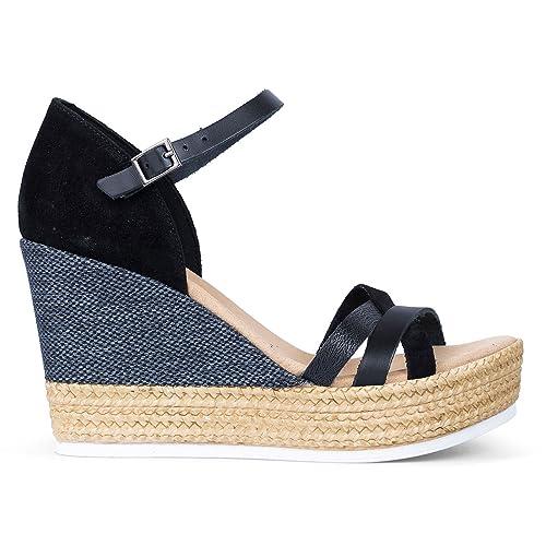 eb14b579661 Porronet Sandalias Mujer Cuña Negras 2454  Amazon.es  Zapatos y complementos