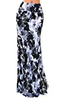VIVICASTLE Women's Colorful Printed Fold Over Waist Long Maxi Skirt