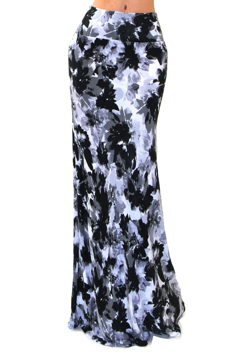 VIVICASTLE Women's Colorful Printed Fold Over Waist Long Maxi Skirt (Large, AE42, blk/gray)