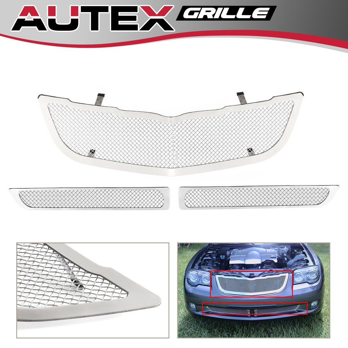 APS Compatible with 2004-2008 Chrysler Crossfire Bumper Stainless Mesh Grille S18-T62567R