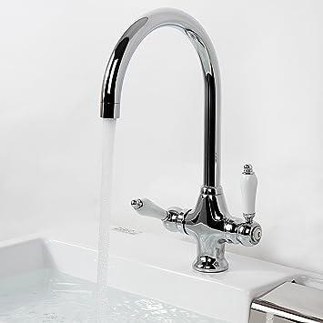 Aquamarin – Grifo de cocina de diseño clásico con dos mandos para fregadero  - (L/An/Alt) aprox. 30/4,5/33 cm