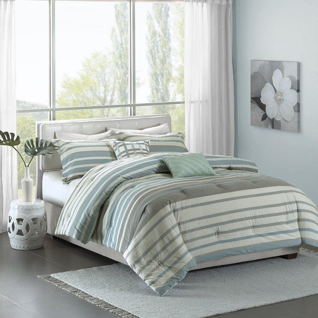 Madison Park Pure Neruda King/Cal King Size Bed Comforter Set - Aqua Blue, Striped – 5 Pieces Bedding Sets – 100% Cotton Bedroom Comforters