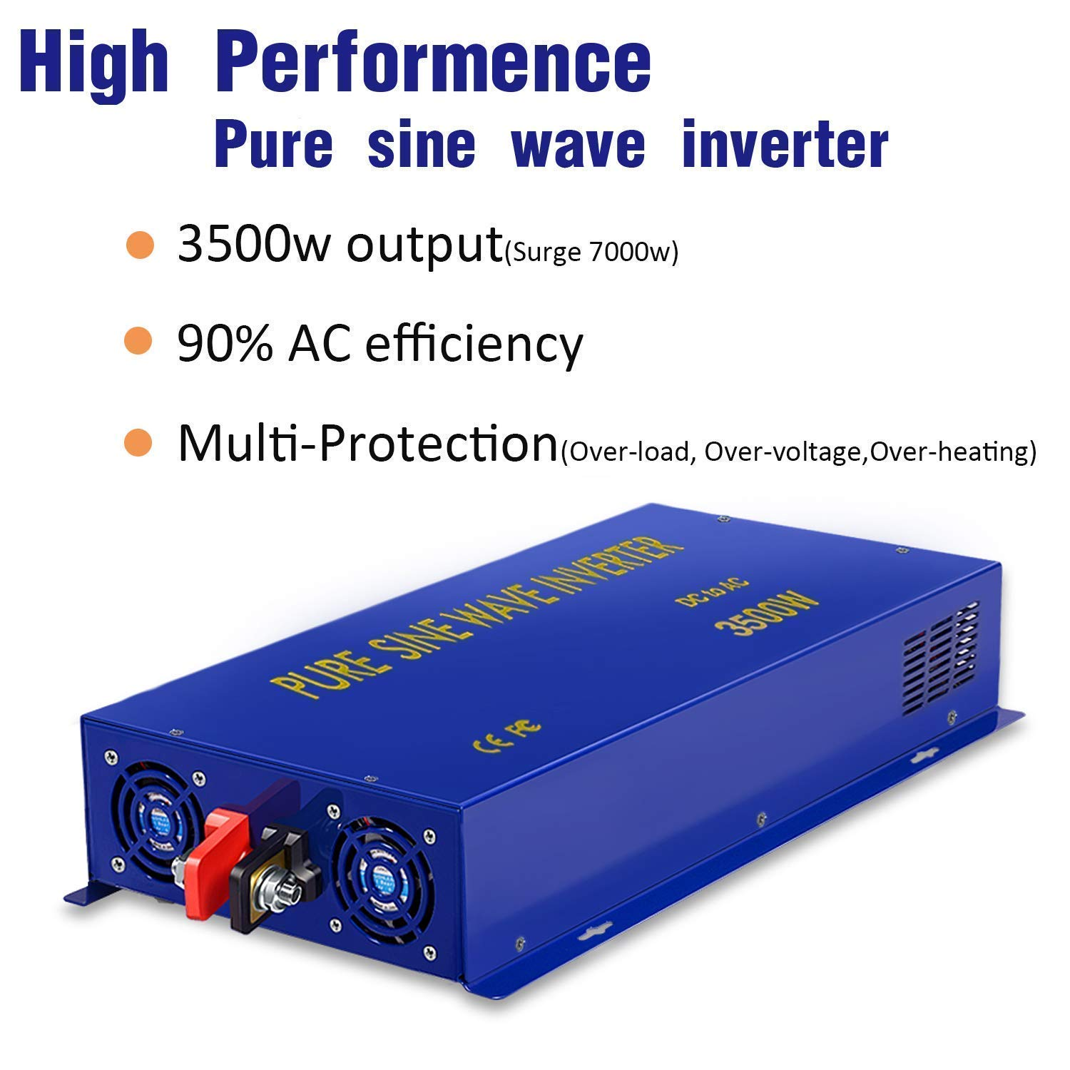 XYZ INVT 3500 Watt Pure Sine Wave Inverter 24V DC to 120V AC 3500W 24V 3500W Power Invert Surge 7000W Power Converter for Solar System.