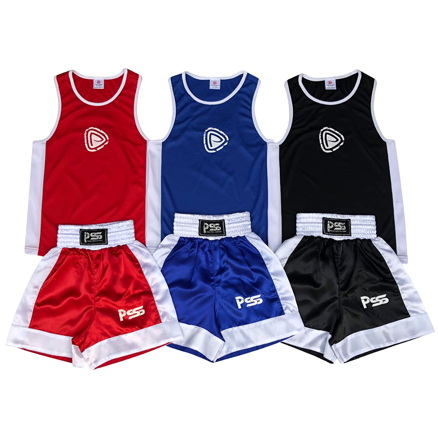 Prime MMA Kids Boxing Uniform Set Shorts & Top 2個のセットサテン生地3 14年に B01LZ0G27X レッド 9-10 Years
