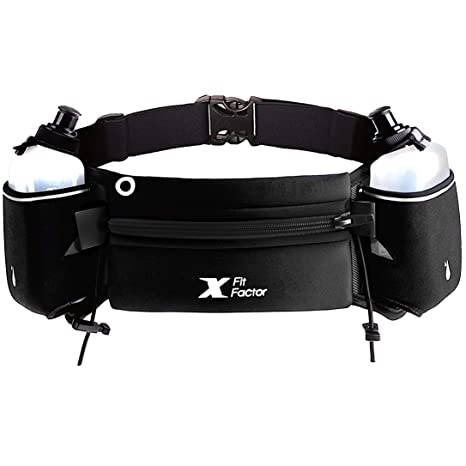 11fd11a13a Running Hydration Belt - Waist Bag for Runners Women and Men - Adjustable  Fuel Belt with 10 Ounce Water Bottles - Phone Holder and Waist Pack with  Large Zip ...