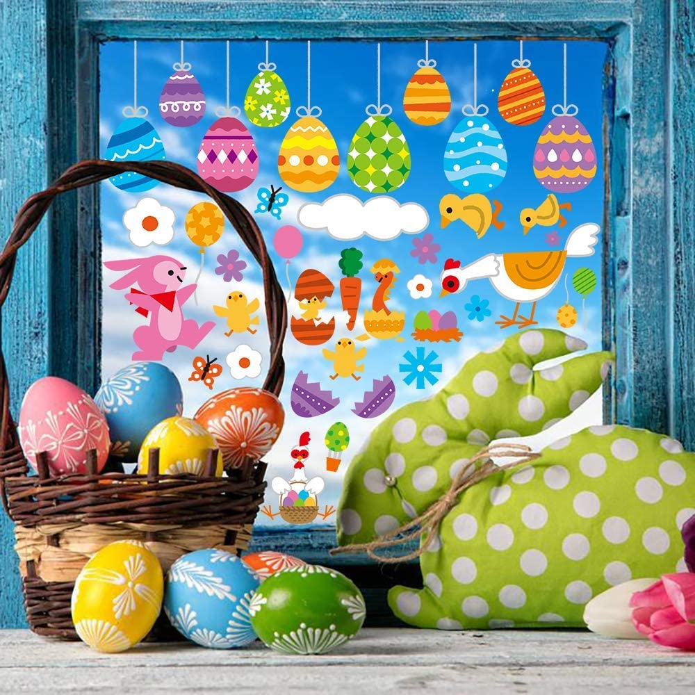 DIYASY 120pcs 8sheets Static Easter Egg Bunny Chicken Window Clings Stickers Decals For Easter Window Display and Decorations