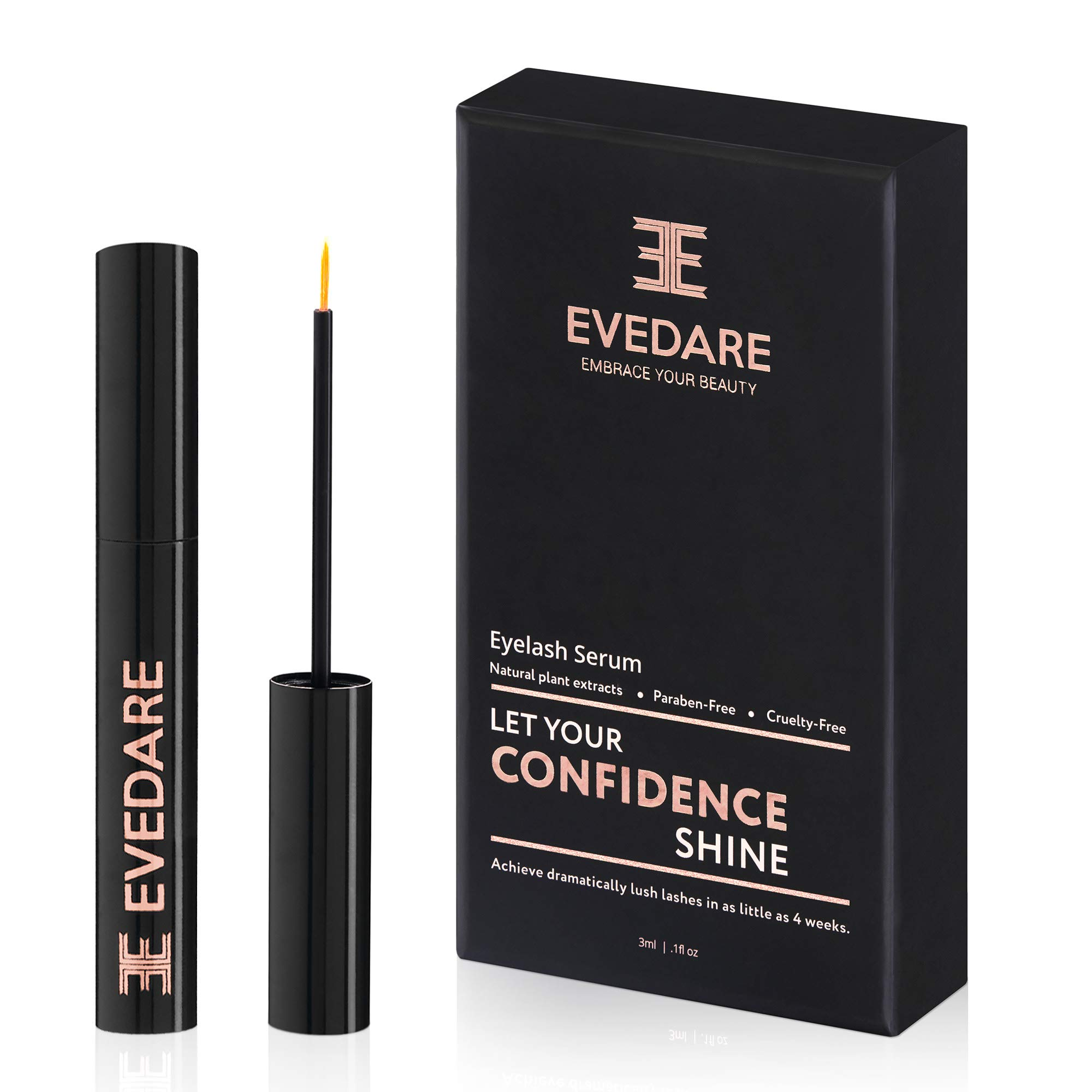 EVEDARE Advanced Eyelash Growth Serum with Enhancing Peptides and Botanical Vitamins for Longer, Thicker, Fuller Lashes, Natural Extracts Improve Strength, Reduce Brittleness by EVEDARE