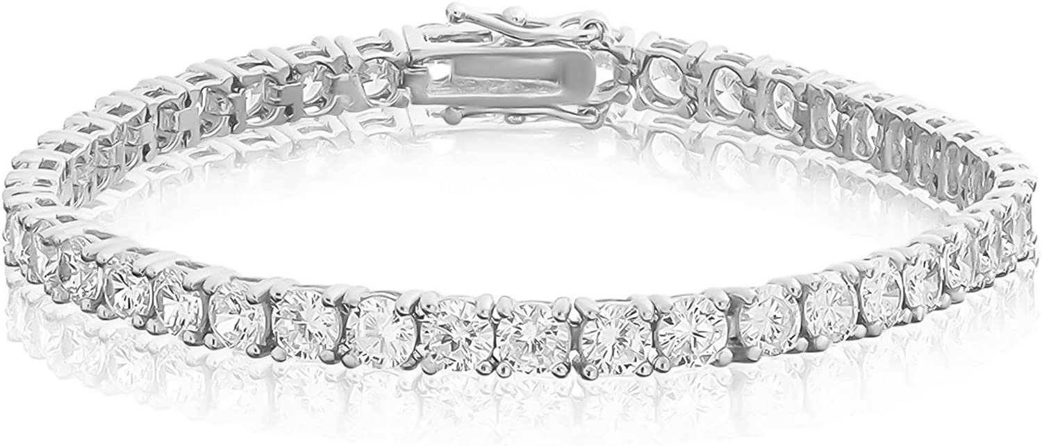 NYC Sterling 4MM Sterling Silver Round Cubic Zirconia Tennis Bracelet, 7.5 Inches