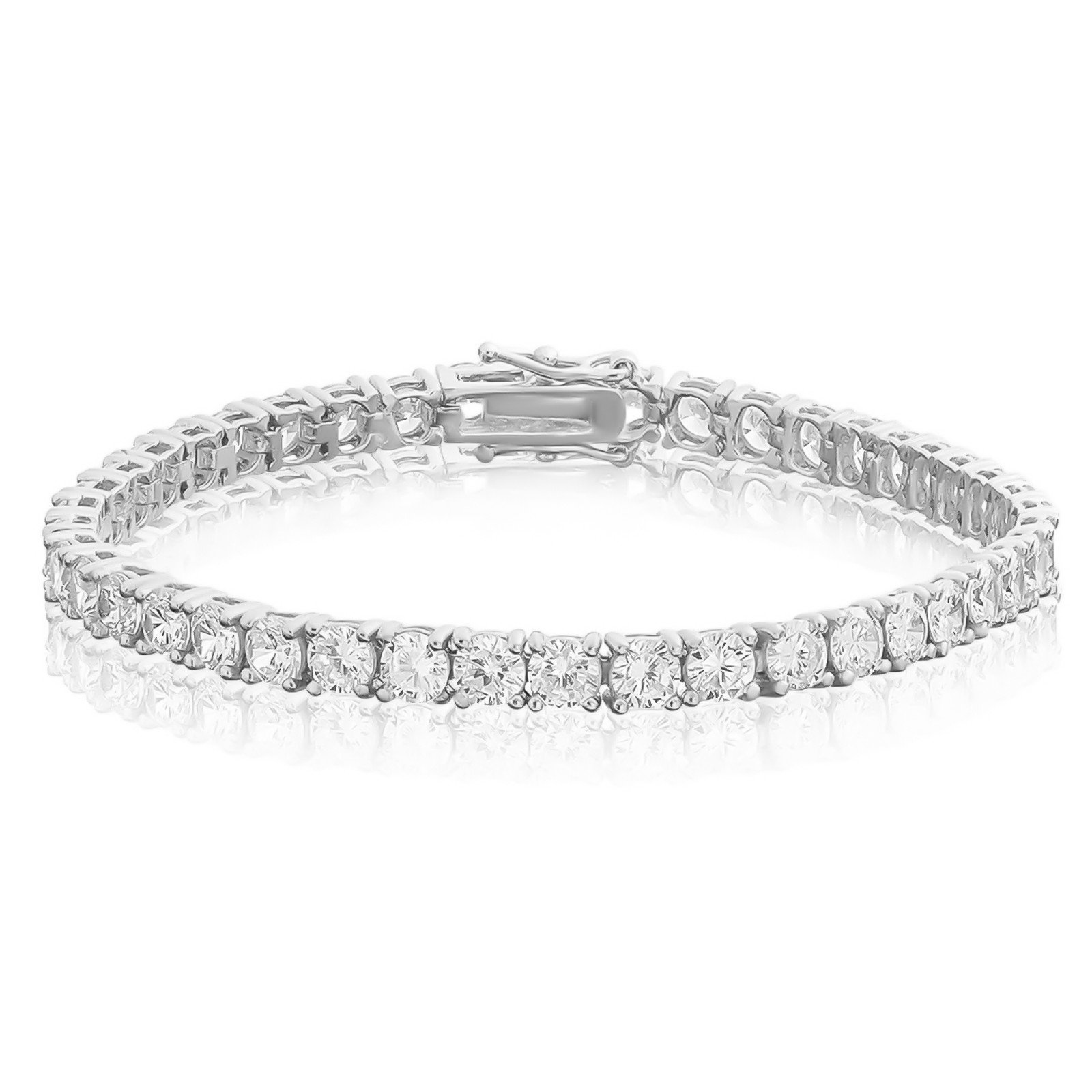NYC Sterling 4MM Sterling Silver Round Cubic Zirconia Tennis Bracelet, 7.5 Inches (Rhodium-Plated-Silver)