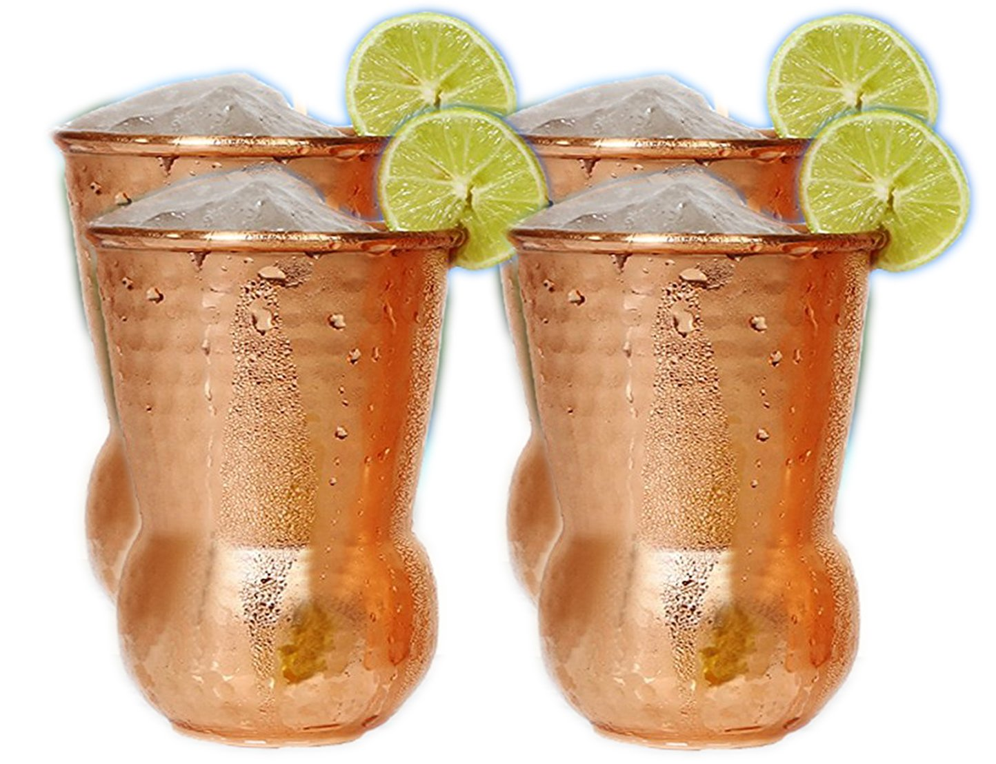 Hand Hammered Pure Copper Tumbler Moscow Mule Mugs Copper Tumbler Cups pure copper glass for mule cocktail beverages soft drinks Handcrafted Set of 4 by Parijat Handicraft