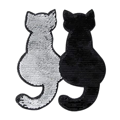BESTOYARD 2pcs Sequin Parches Bordados Gato en Forma de Parche Apliques Animales DIY Coser en Accesorios