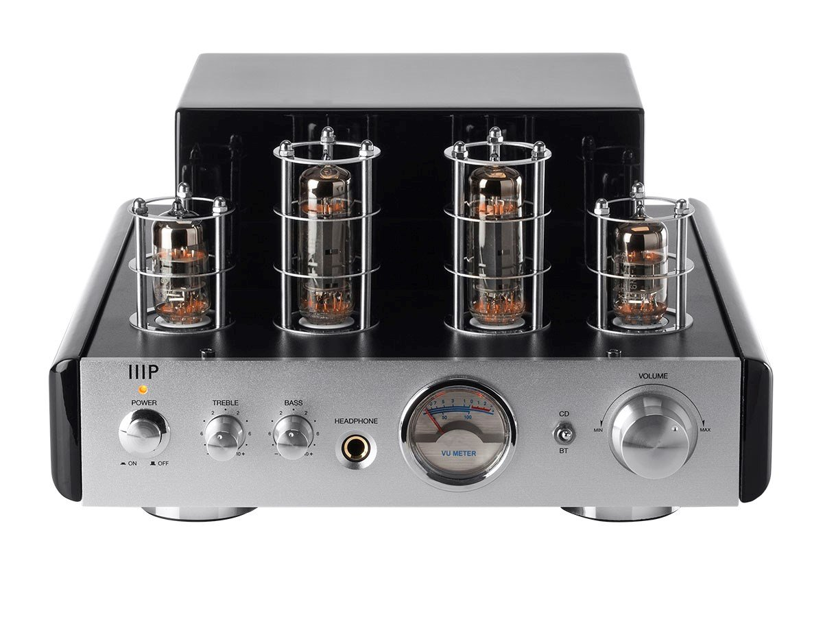 Monoprice 113194 25 Watt AB Power Amplifier Stereo Hybrid Tube Amp with Bluetooth by Monoprice