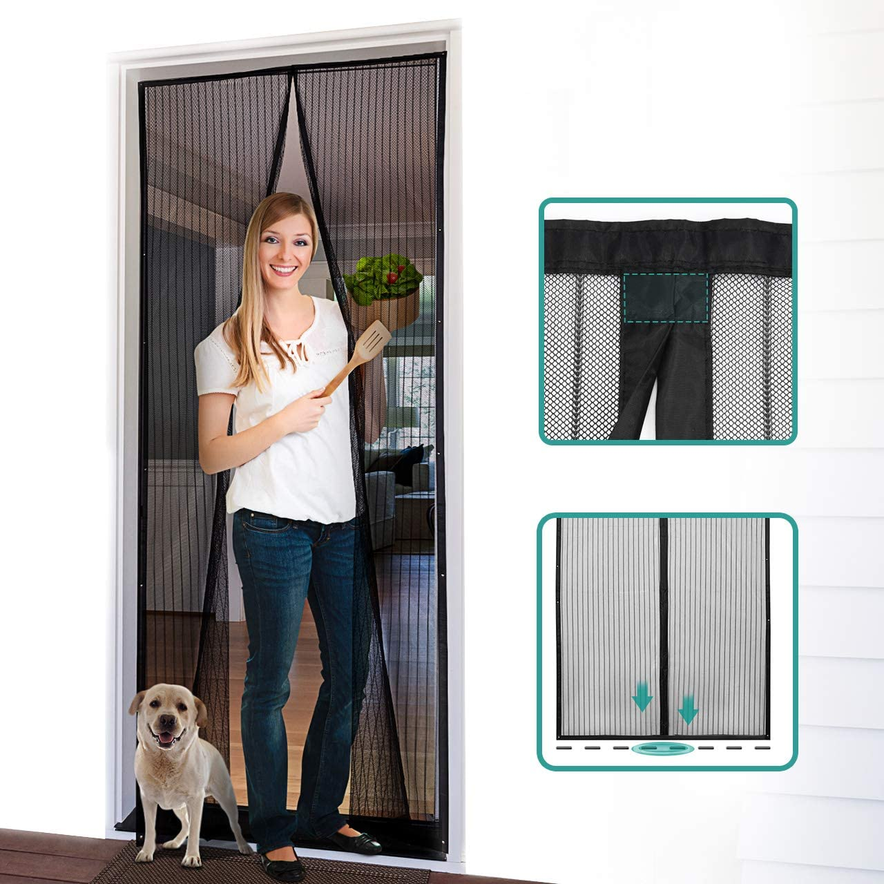 "Homitt Magnetic Screen Door with Heavy Duty Mesh Curtain and Full Frame Hook&Loop, Hands Free, Pet and Kid Friendly, 39"" x 83"", Black - -"