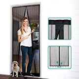Homitt Magnetic Screen Door with Heavy Duty Mesh Curtain and Full Frame Hook&Loop, Hands Free, Pet and Kid Friendly, 39…