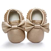 b8096142fd0 LIVEBOX Infant Baby Girls  Bow Mocassins Soft Sole Anti-Slip Tassels  Prewalker Toddler Leather Crib Shoes£¨M 6-12 Months