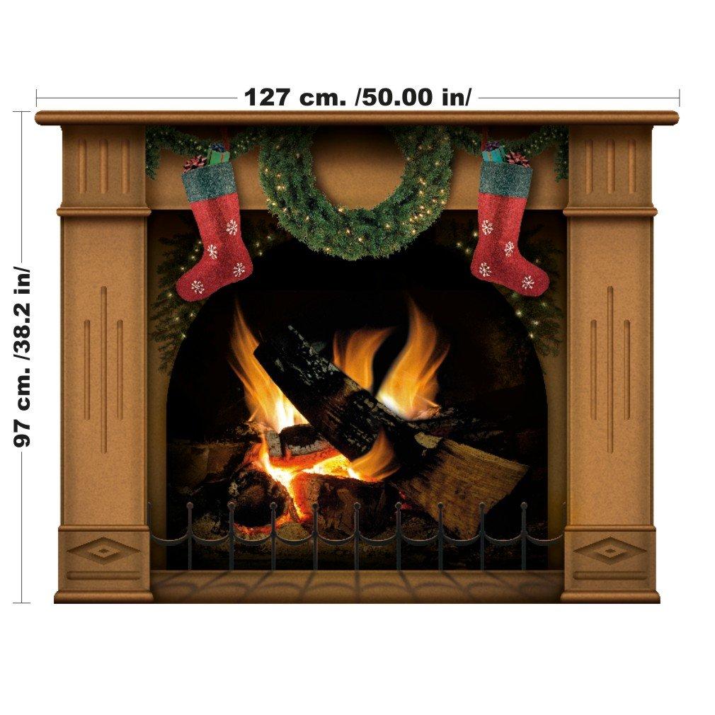 Cheminée de Noël avec cadre complet avec bas et couronne prête pour le Père Noël - 127 cm x 97 cm (Grand, Gris) Vacom Advertising