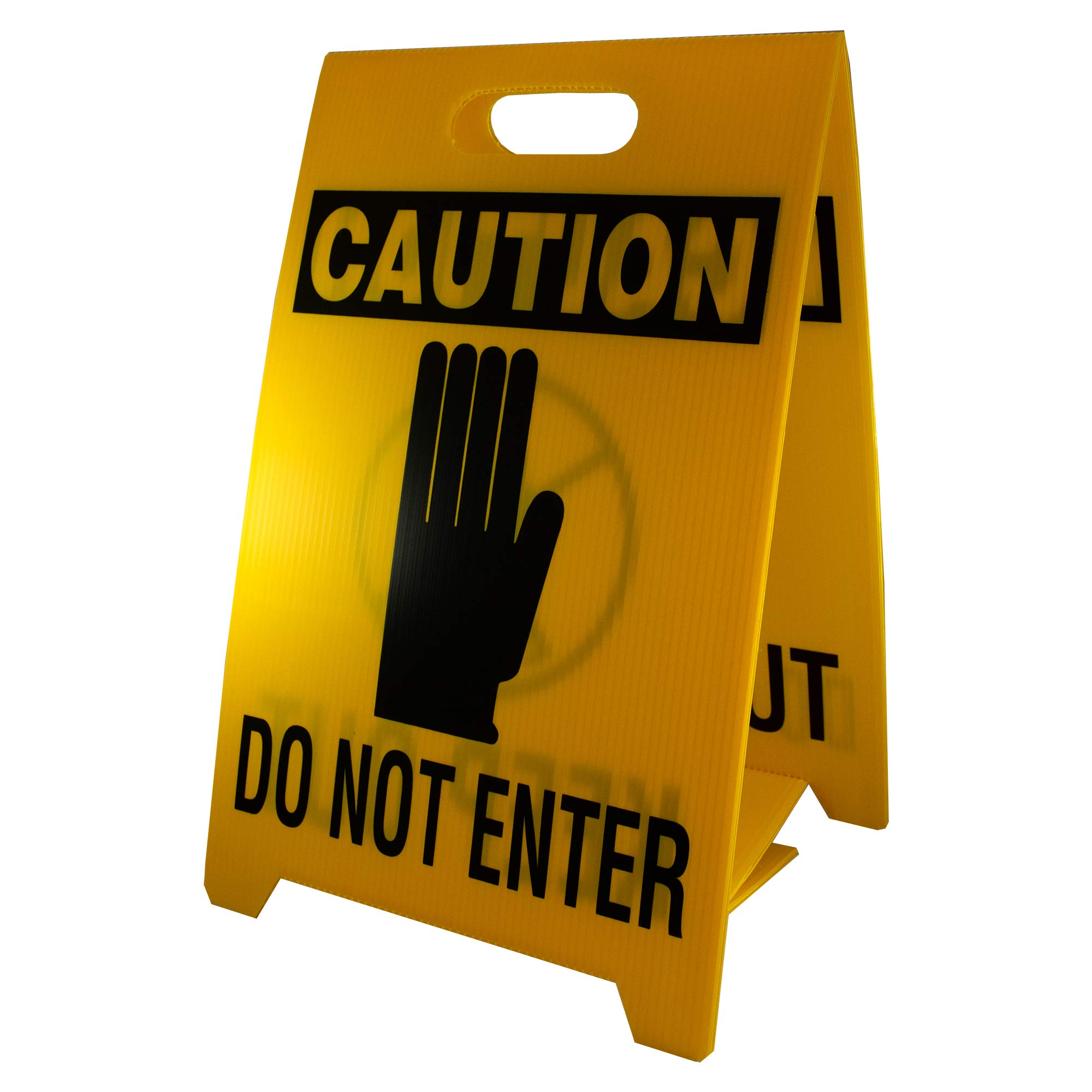NMC FS8 Double Sided Floor Sign, Legend ''CAUTION - DO NOT ENTER KEEP OUT'' with Graphic, 12'' Length x 20'' Height, Coroplast, Black on Yellow