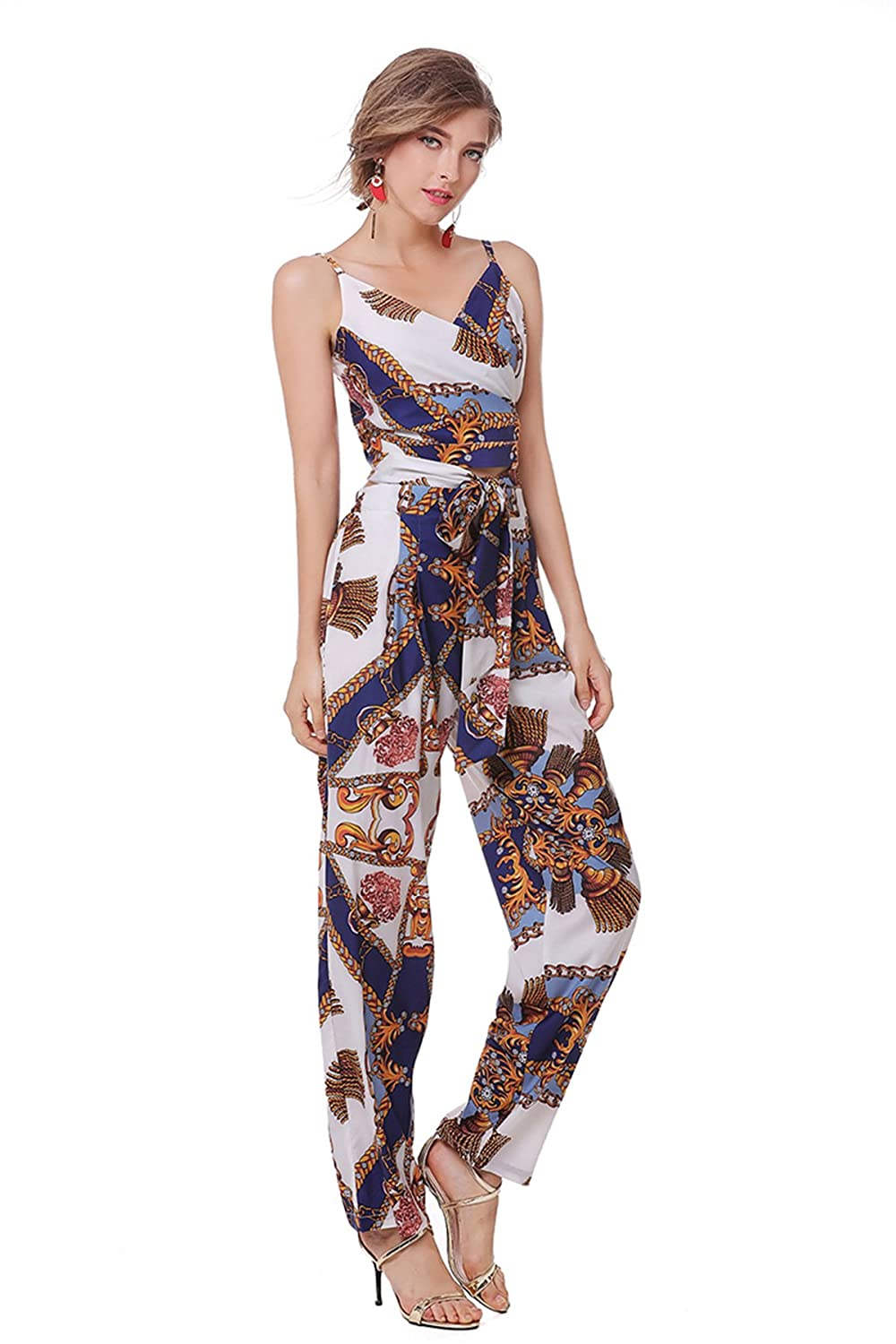 0bac4bb6313f Amazon.com  Women s Vintage Print Two Piece Set Sexy Crop Top and Wide Leg  Jumpsuit  Clothing