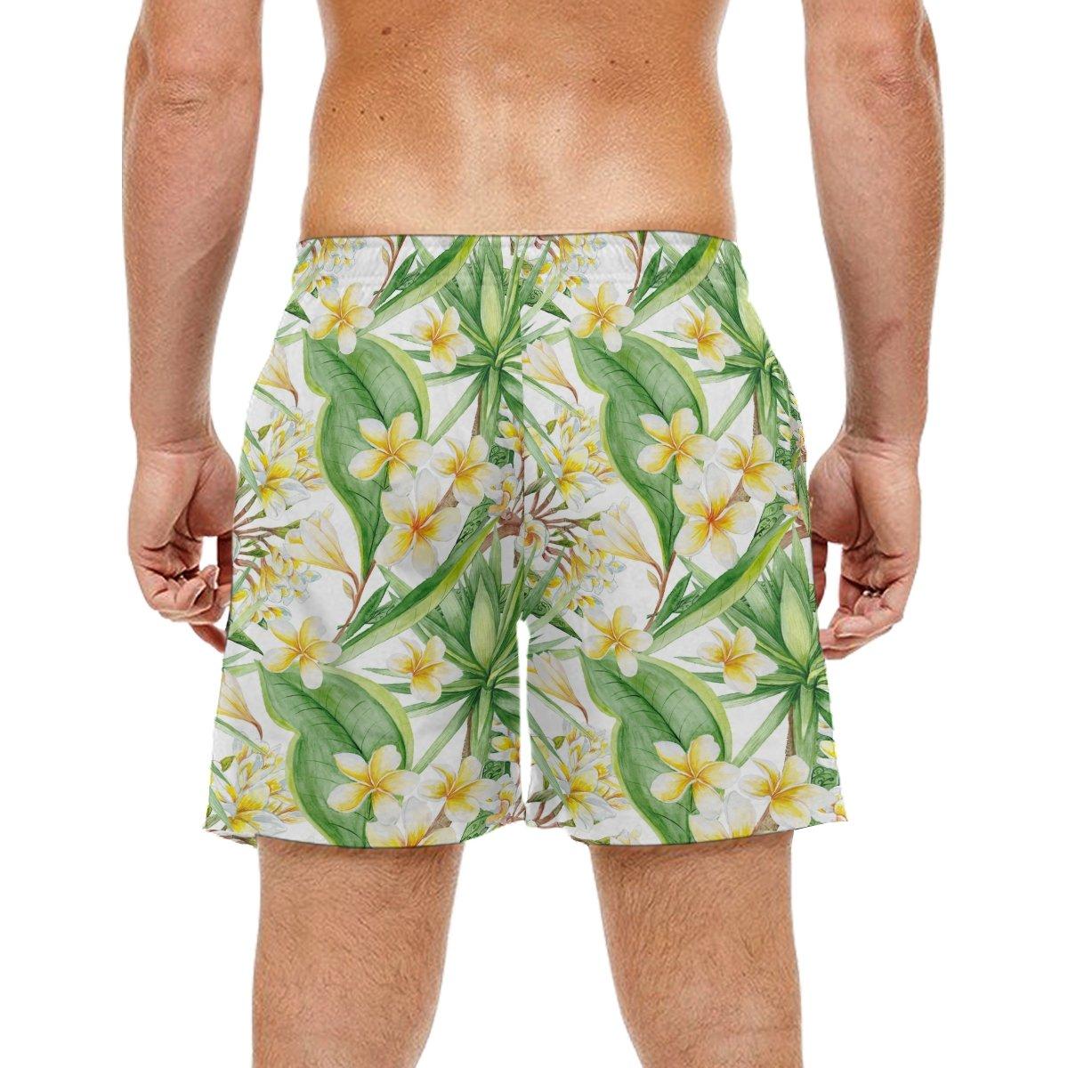 KEAKIA Mens Botanic Tropical Pattern Beach Board Shorts Quick Dry Swim Trunk