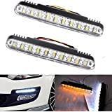 1Pair Car Super White 30 LED Driving Lights Daytime Running Light Kit DRL Daylight Lamp with Turn Lights Auto Parking Driving Lamp