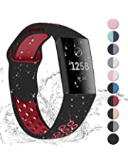 Hotodeal Bands Compatible with Fitbit Charge 3 Band, Soft Silicone Wristbands Water Proof Breathable Sport Bands for Charge 3 Accessories Women Men Small Large