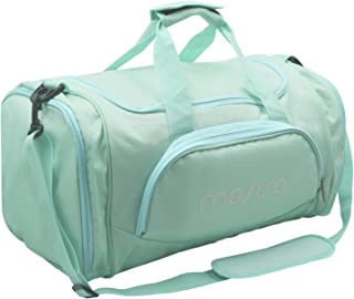 Mosiso Canvas Fabric Foldable Travel Luggage Multifunctional Duffels Lightweight Shoulder for Men/Ladies Gym Bags, Sports, Vacation, Hot Blue