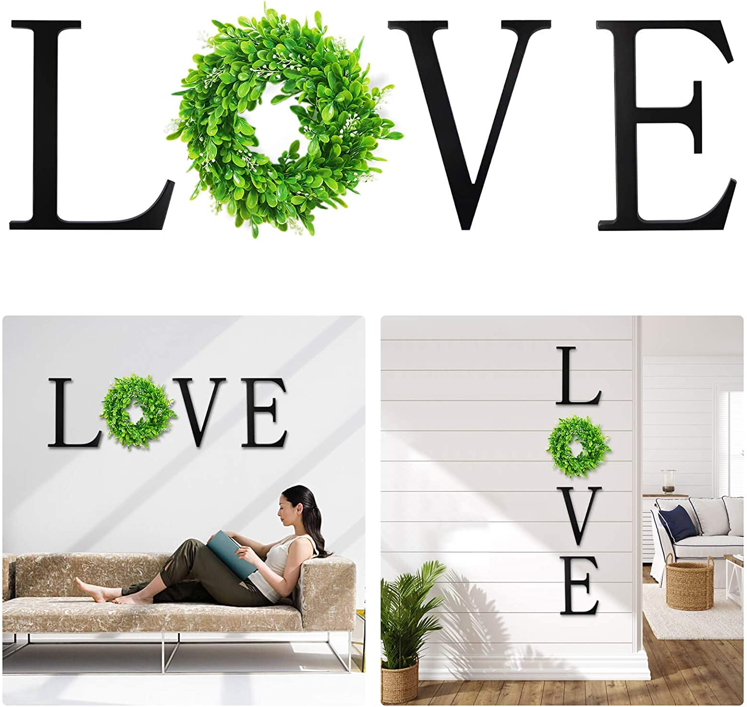 VIEFIN 12inch Wooden Love Letters for Wall Decor,Wall Hanging Love Sign with Green Wreath,Wooden Love Signs for Home Decor,Farmhouse Wall Decor for Living Room,Bedroom, Kitchen,Enterway,LOVE,Black