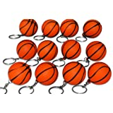 Novel Merk 12 Pack Orange Basketball Keychains for Kids Party Favors & School Carnival Prizes