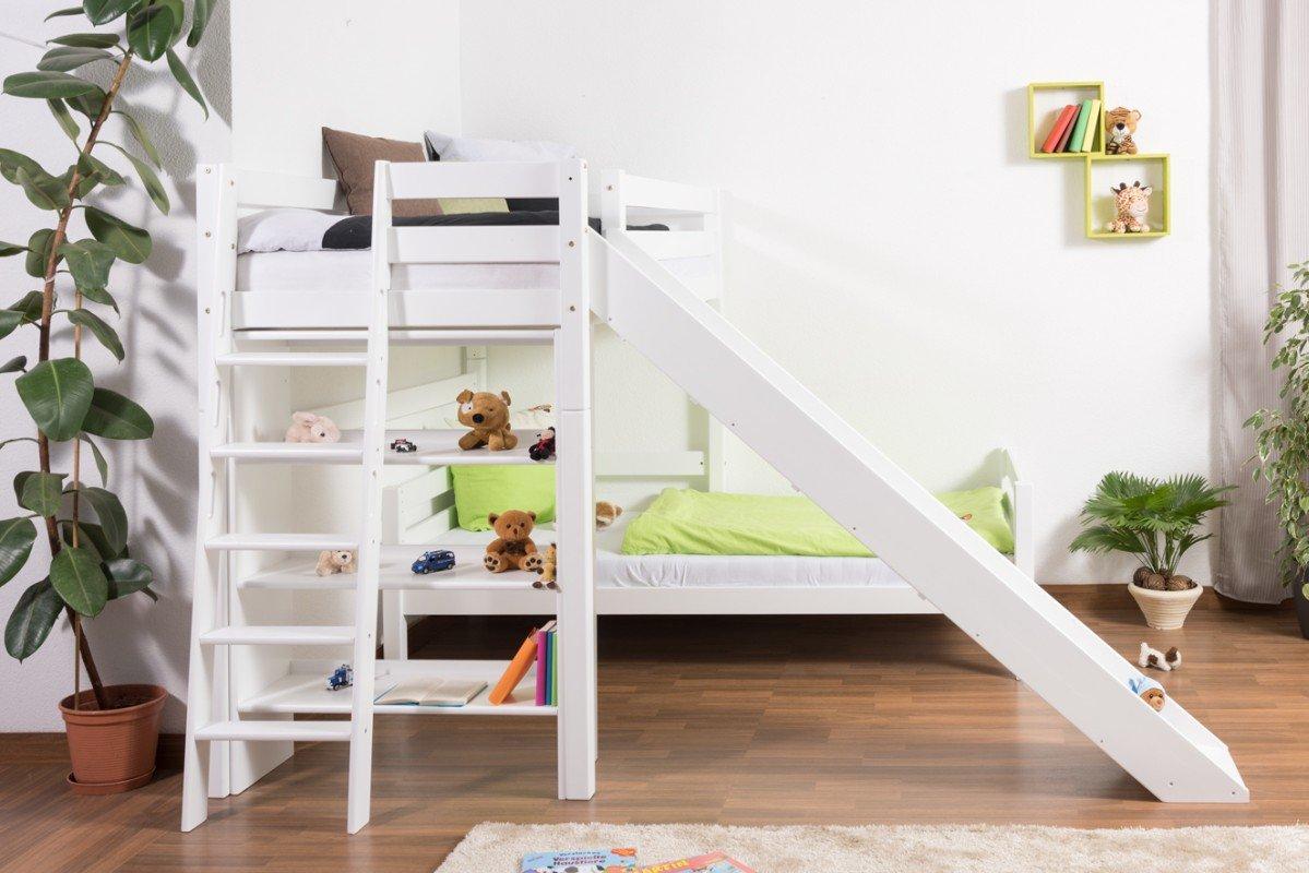 Etagenbett Moritz Montageanleitung : Kinderbett etagenbett pauli buche vollholz massiv weiß lackiert
