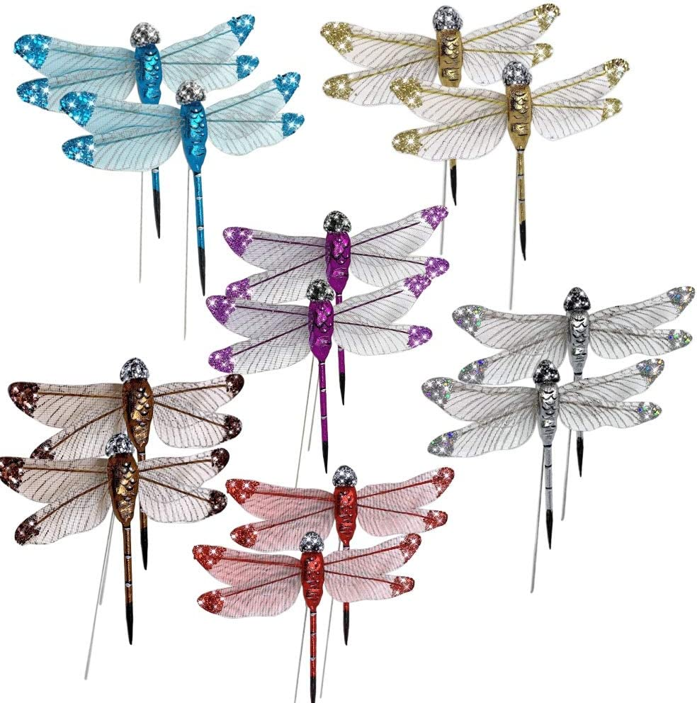 Craft Dragonfly Set– Dragonfly Floral Picks -Multi Colored Glitter Dragon Flies Attached to Wire Stems - Set of 12 Winged Dragonflies Decorations on Wires- Great for DIY Wreaths Centerpieces…