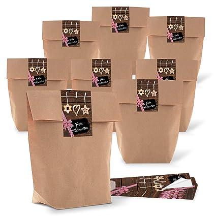 5d041d16c 25 pequeñas bolsas de papel de color marrón natural 16,5 x 26 x 6,6 ...