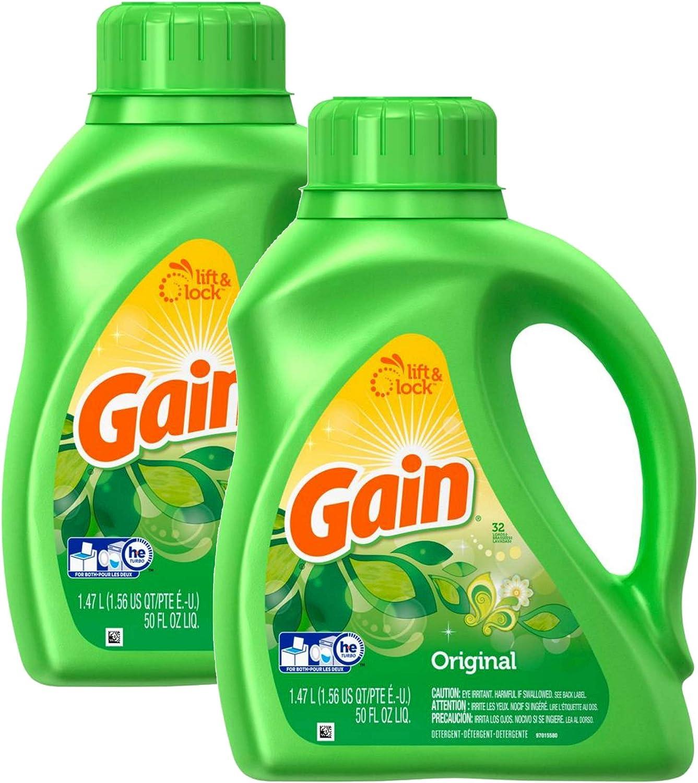 Gain Original HE Liquid Laundry Detergent - 50 Ounce, (Pack of 2)