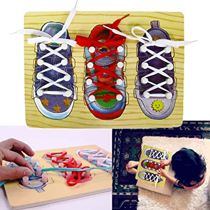 Amazoncom DIY Shoe Lace Tying Board Learn to Tie your Shoe Laces