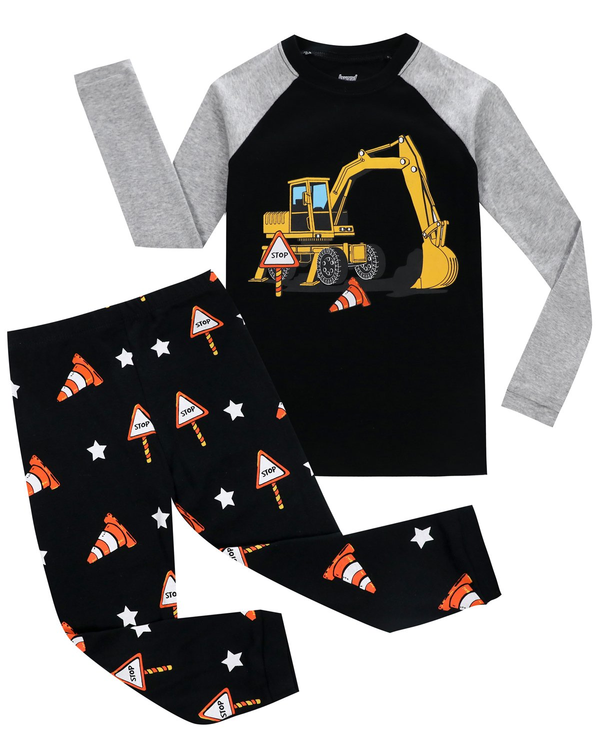 Joyond Boys Pajamas Set Excavator 100% Cotton Sleepwears 2 Piece Long Sleeve Clothes Toddler Kids PJS Set(HWTJ 4T)