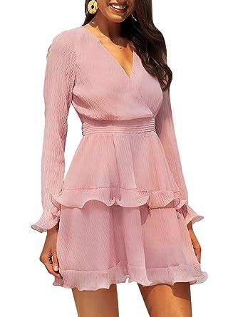 94a81cec0f0 Fashiomo Women s Chiffon V Neck Ruffle Mini Dress Wrap Tie Waist Party Dress  Pink